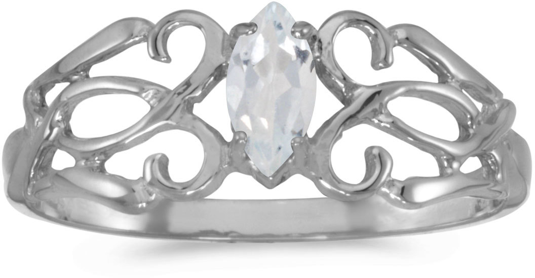 14k White Gold Marquise White Topaz Filigree Ring (CM-RM1188XW-04)
