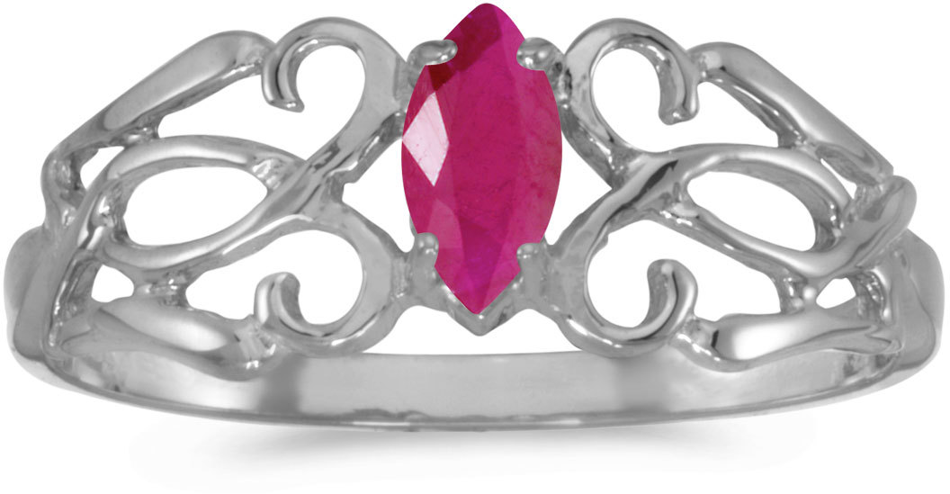 14k White Gold Marquise Ruby Filigree Ring (CM-RM1188XW-07)