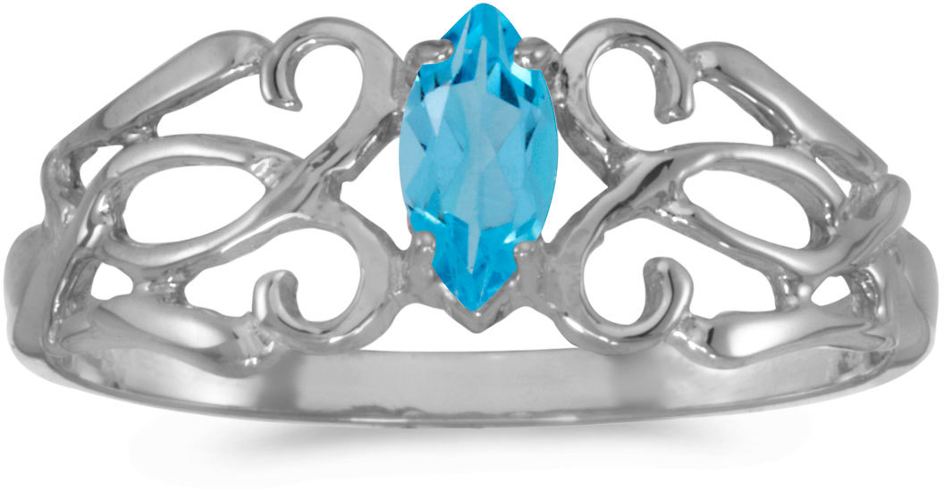 14k White Gold Marquise Blue Topaz Filigree Ring (CM-RM1188XW-12)
