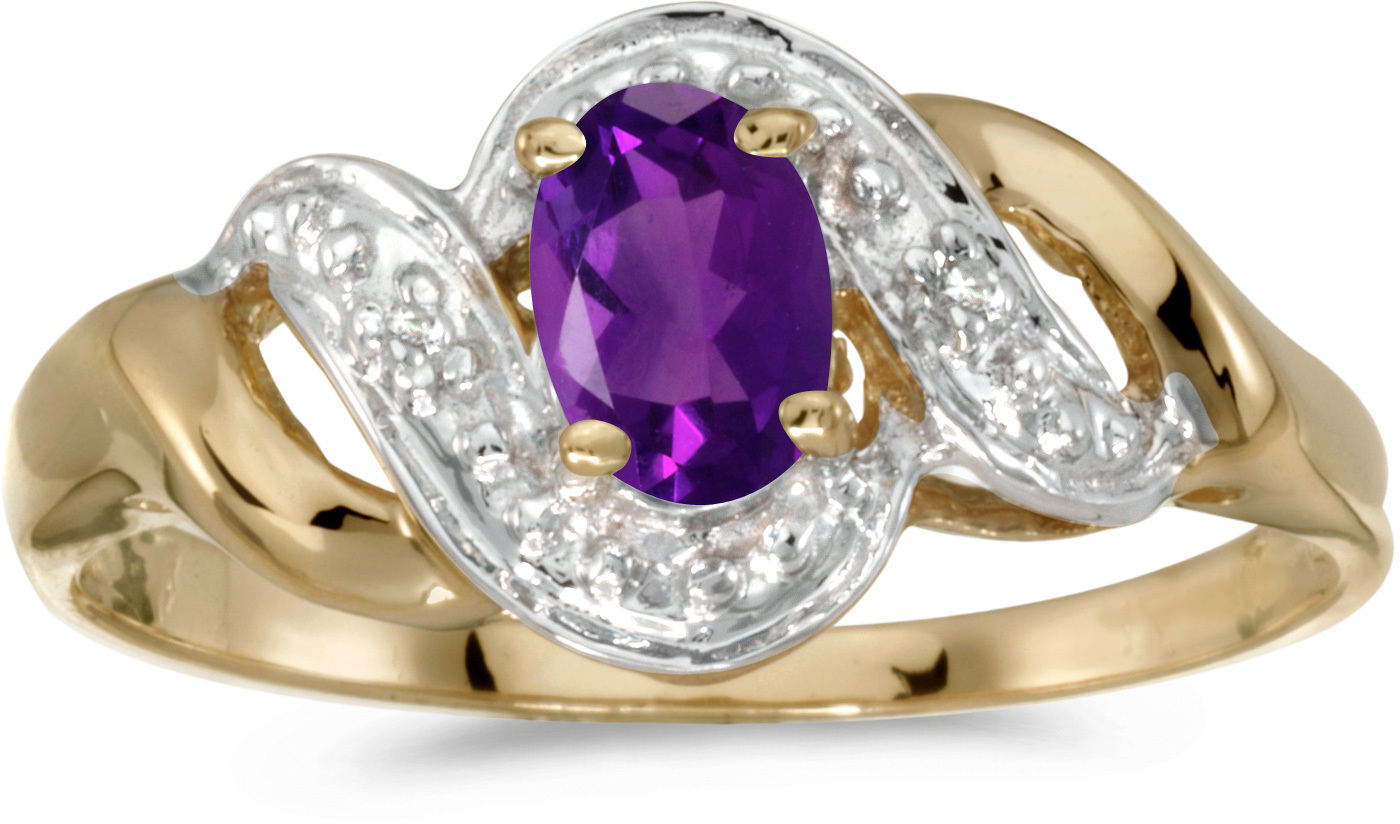 10k Yellow Gold Oval Amethyst And Diamond Swirl Ring (CM-RM1190-02)
