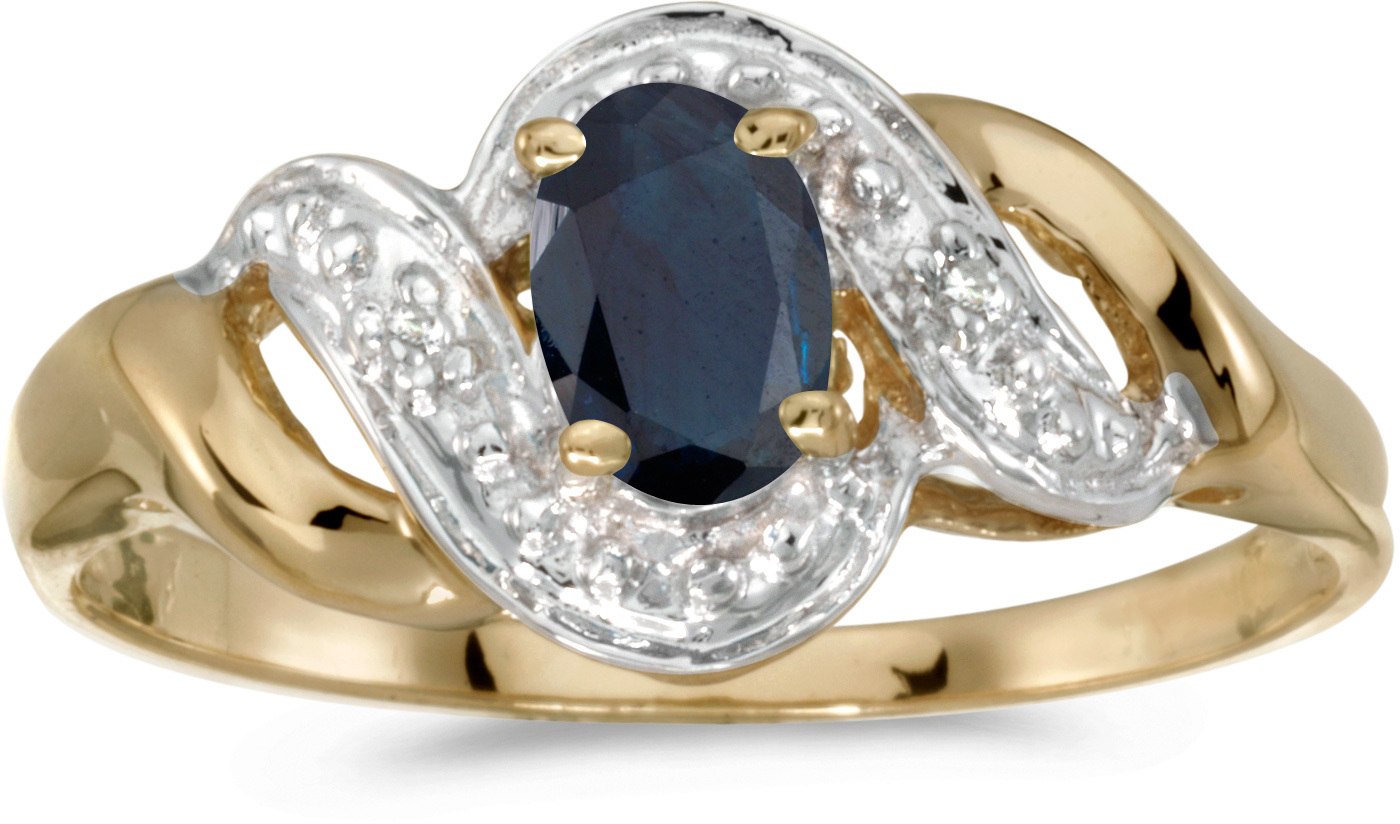 10k Yellow Gold Oval Sapphire And Diamond Swirl Ring (CM-RM1190-09)