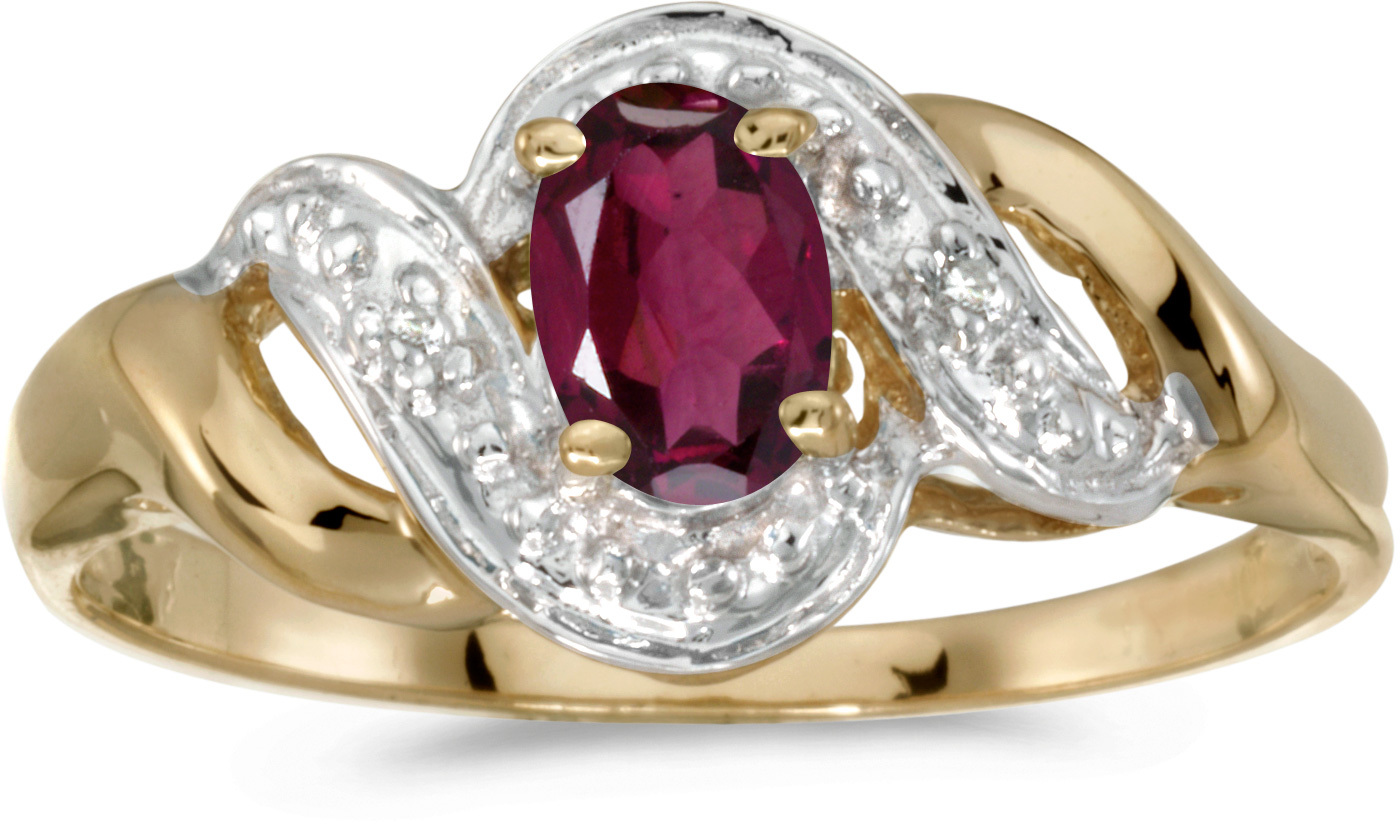 10k Yellow Gold Oval Rhodolite Garnet And Diamond Swirl Ring (CM-RM1190-RG)