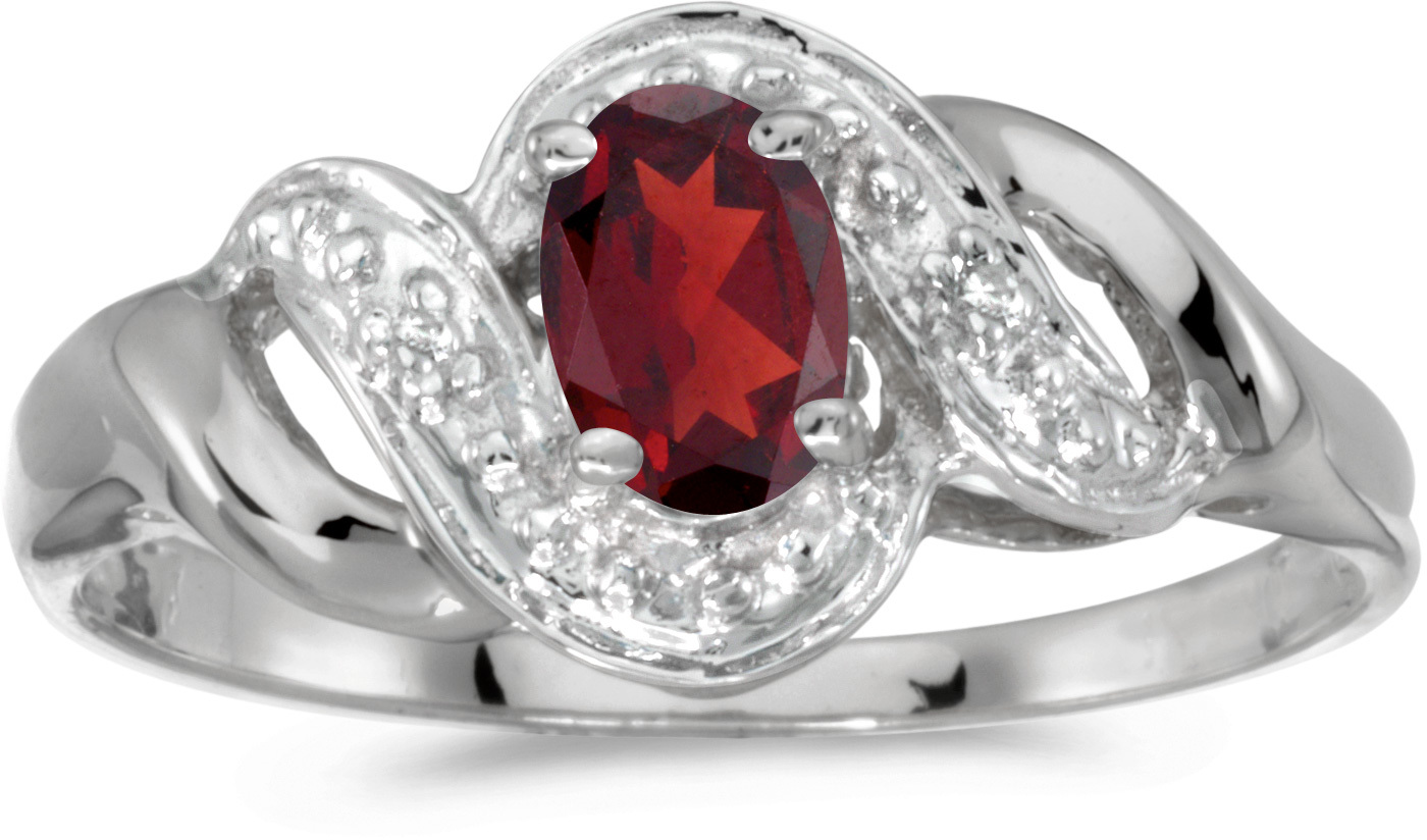 10k White Gold Oval Garnet And Diamond Swirl Ring (CM-RM1190W-01)