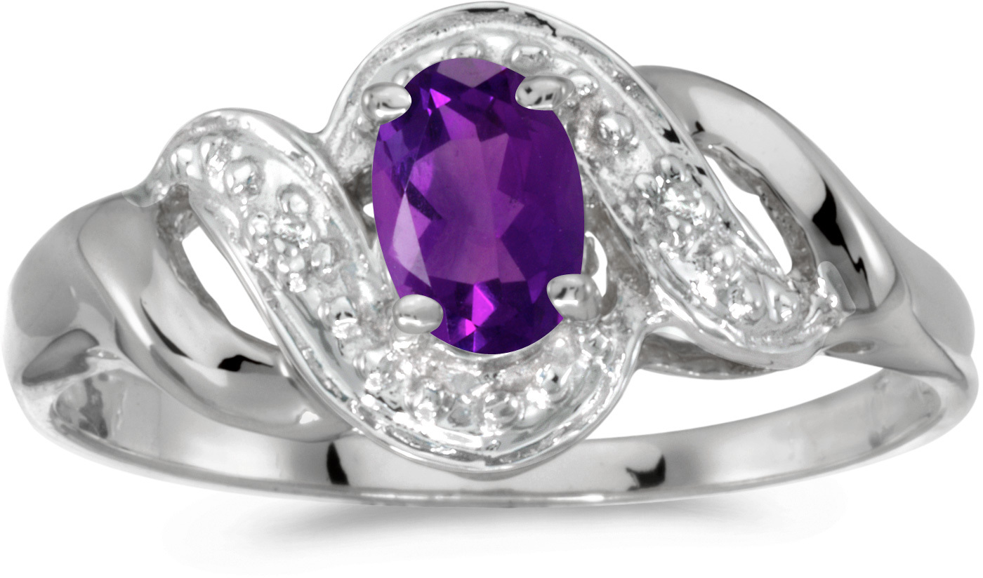 10k White Gold Oval Amethyst And Diamond Swirl Ring (CM-RM1190W-02)