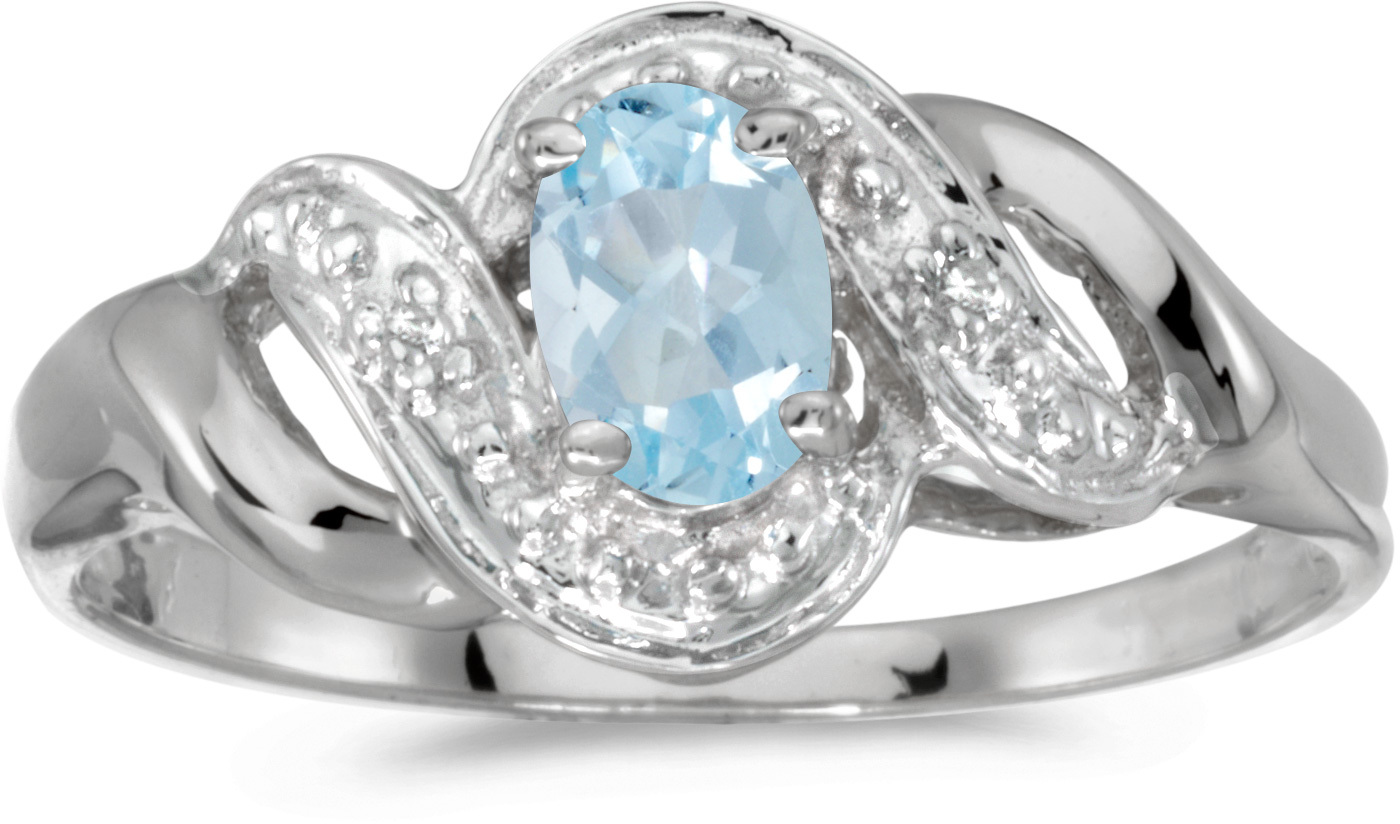 10k White Gold Oval Aquamarine And Diamond Swirl Ring (CM-RM1190W-03)