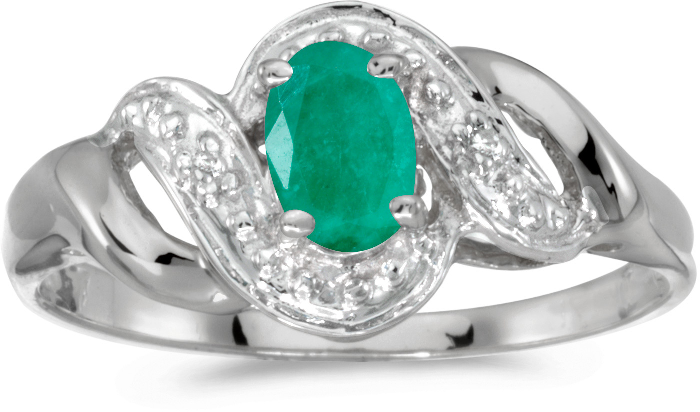 10k White Gold Oval Emerald And Diamond Swirl Ring (CM-RM1190W-05)