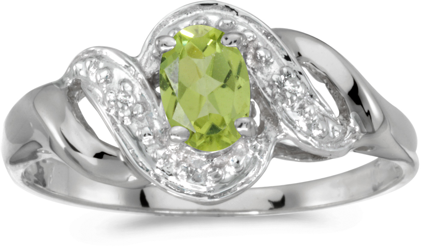 10k White Gold Oval Peridot And Diamond Swirl Ring (CM-RM1190W-08)