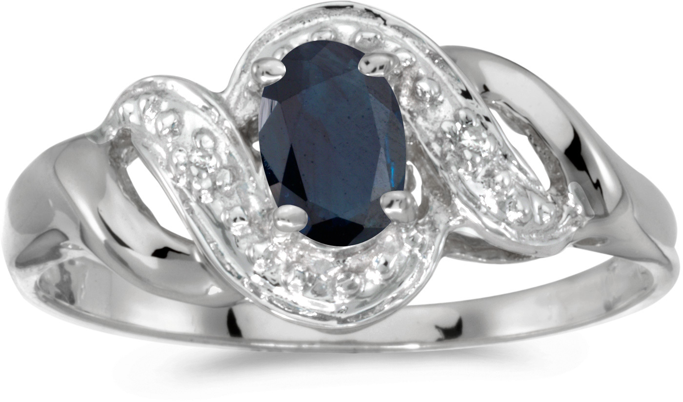 10k White Gold Oval Sapphire And Diamond Swirl Ring (CM-RM1190W-09)