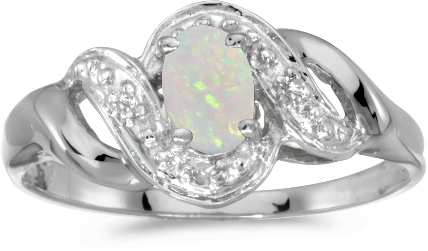 10k White Gold Oval Opal And Diamond Swirl Ring (CM-RM1190W-10)