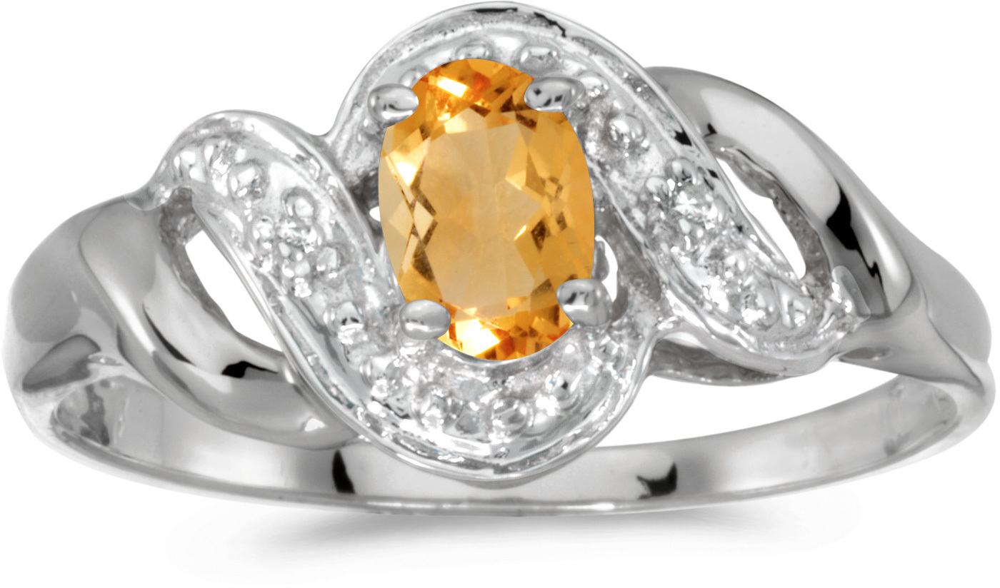 10k White Gold Oval Citrine And Diamond Swirl Ring (CM-RM1190W-11)