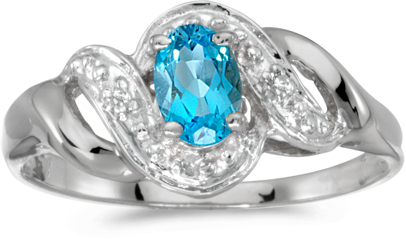 10k White Gold Oval Blue Topaz And Diamond Swirl Ring (CM-RM1190W-12)