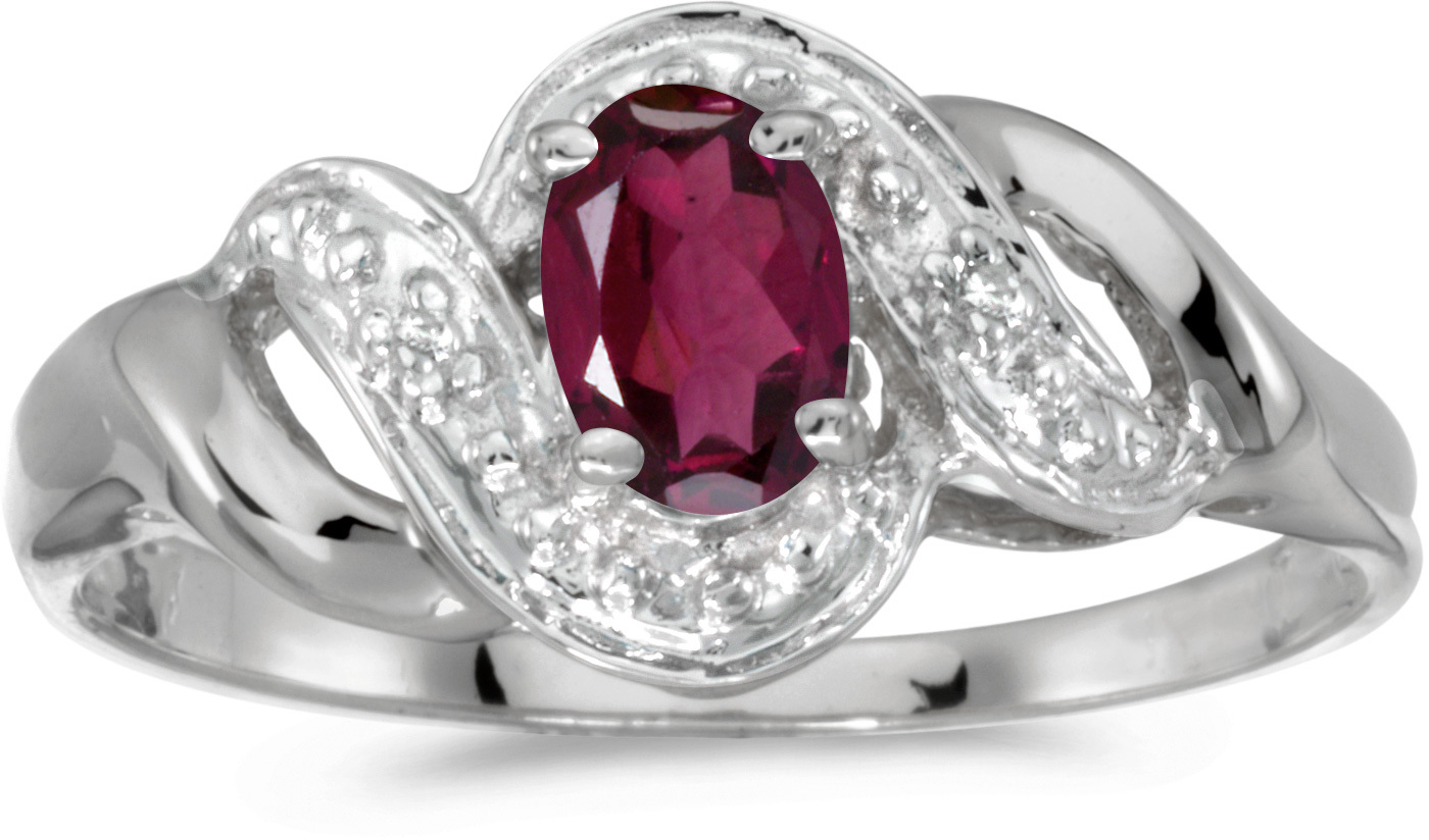 10k White Gold Oval Rhodolite Garnet And Diamond Swirl Ring (CM-RM1190W-RG)