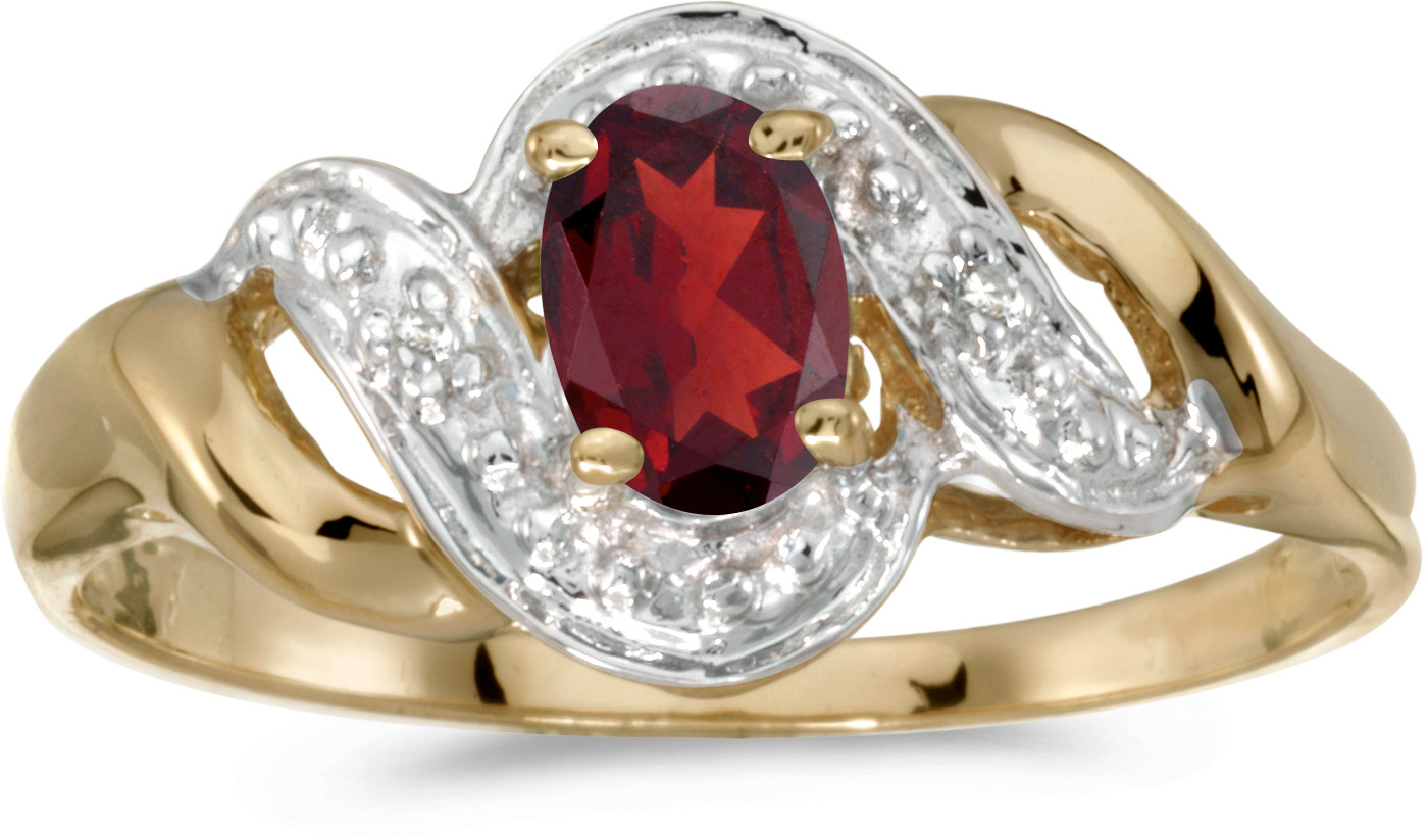 14k Yellow Gold Oval Garnet And Diamond Swirl Ring (CM-RM1190X-01)