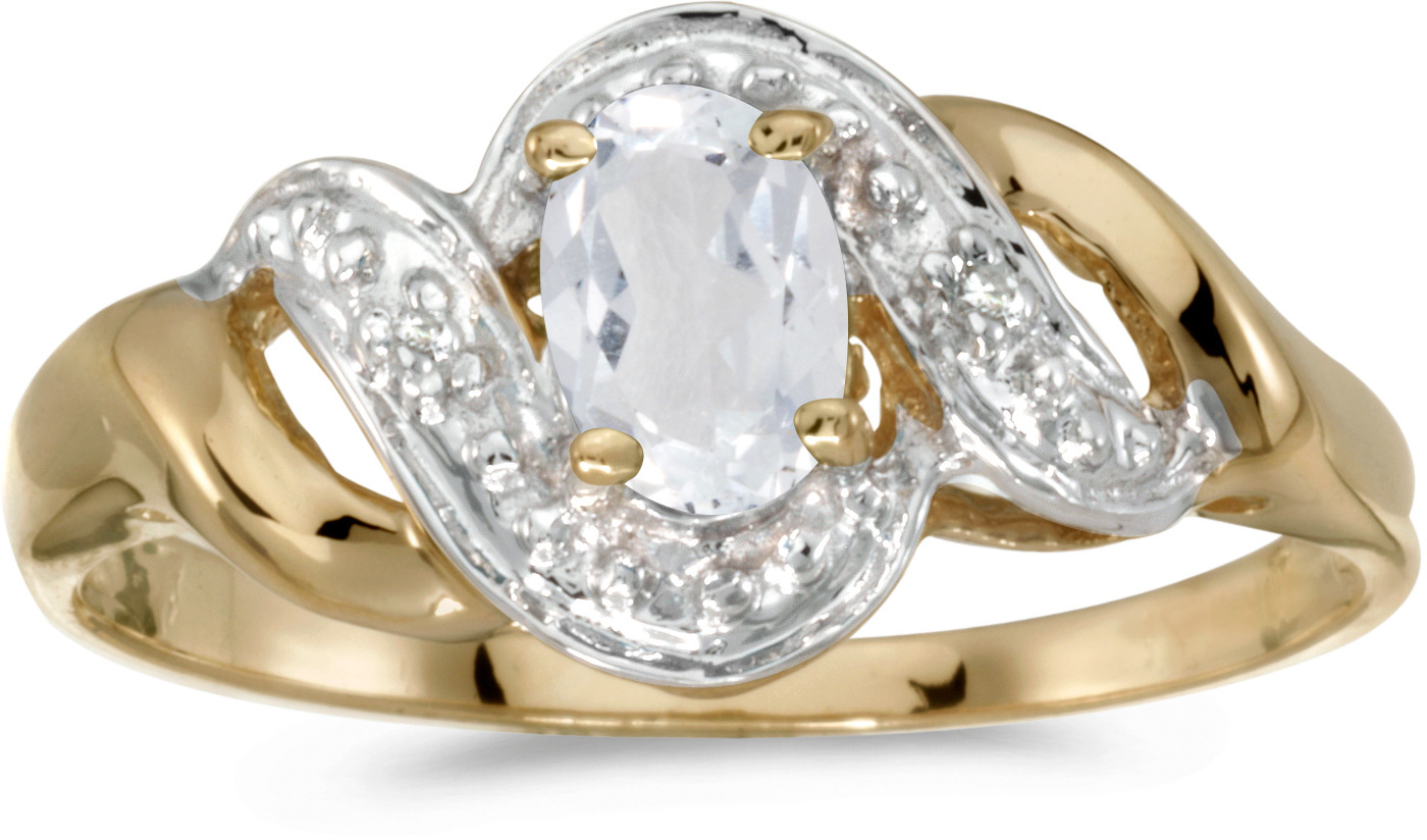 14k Yellow Gold Oval White Topaz And Diamond Swirl Ring (CM-RM1190X-04)