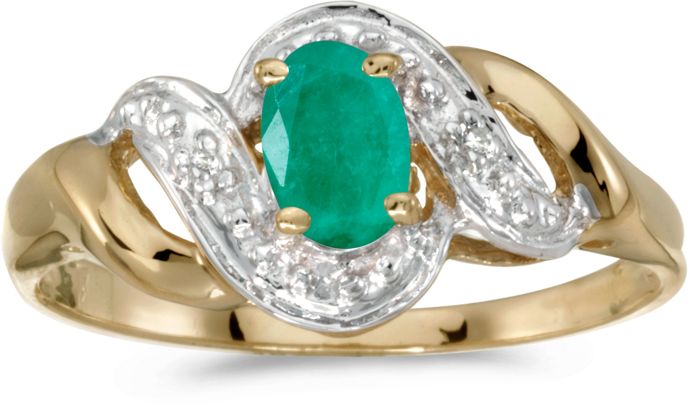 14k Yellow Gold Oval Emerald And Diamond Swirl Ring (CM-RM1190X-05)