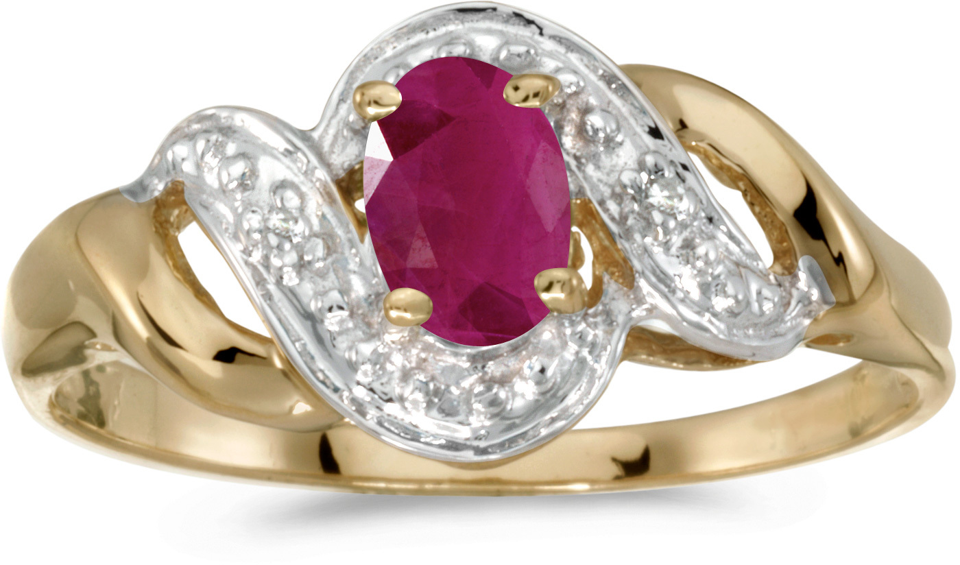 14k Yellow Gold Oval Ruby And Diamond Swirl Ring (CM-RM1190X-07)