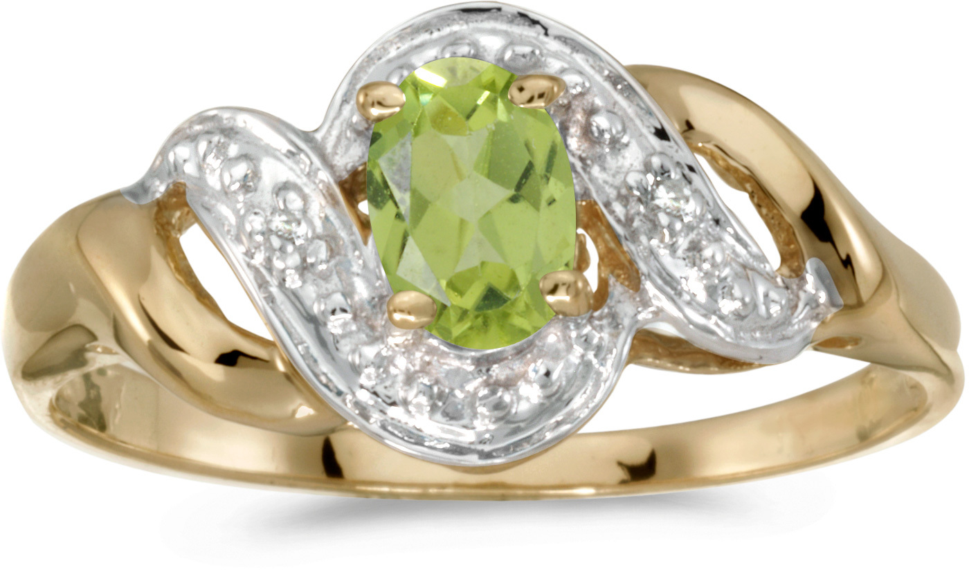 14k Yellow Gold Oval Peridot And Diamond Swirl Ring (CM-RM1190X-08)