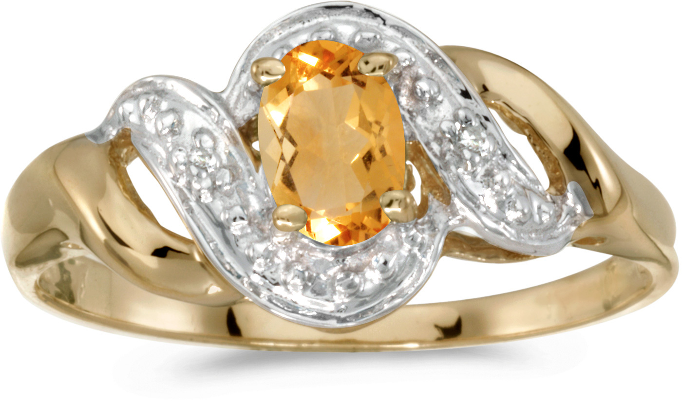 14k Yellow Gold Oval Citrine And Diamond Swirl Ring (CM-RM1190X-11)