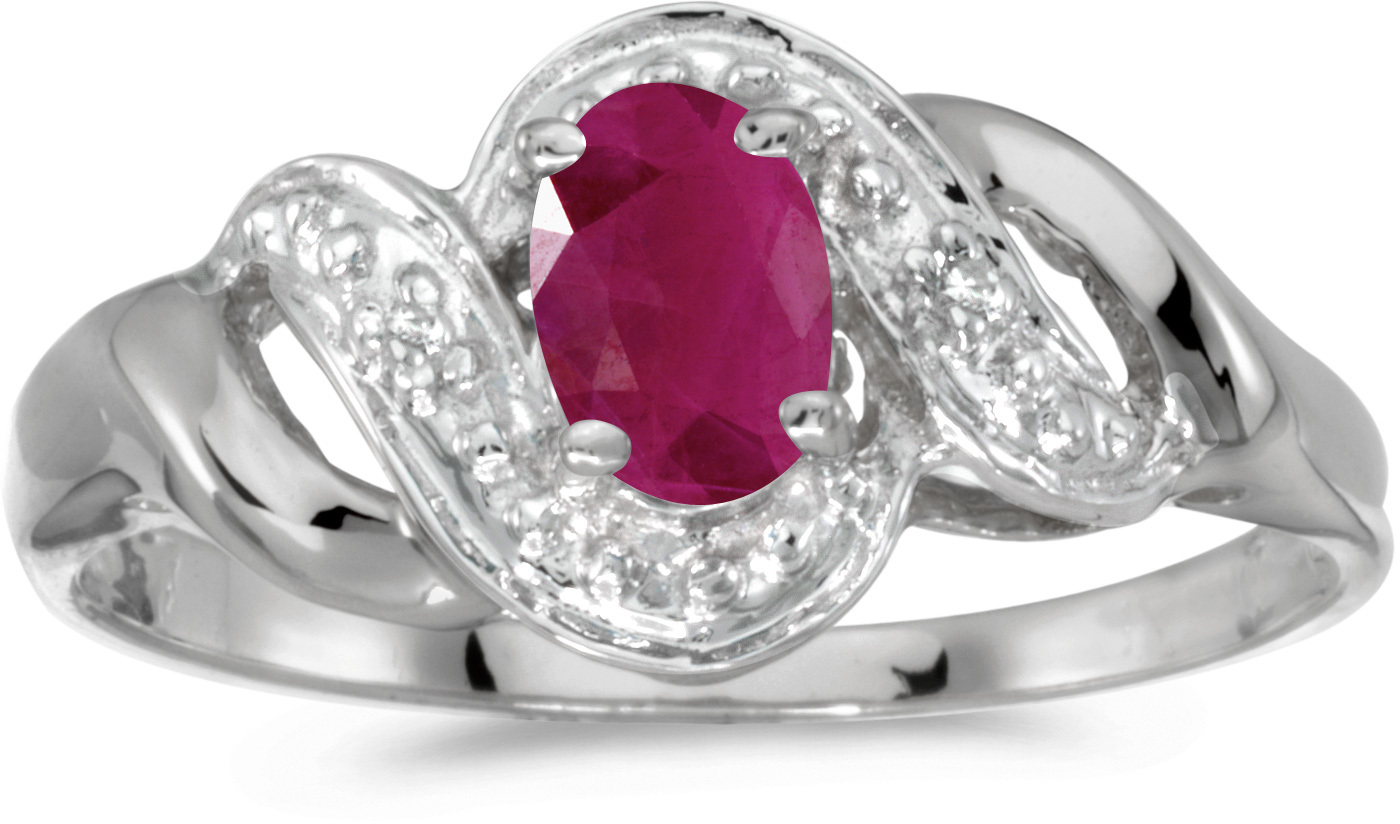 14k White Gold Oval Ruby And Diamond Swirl Ring (CM-RM1190XW-07)