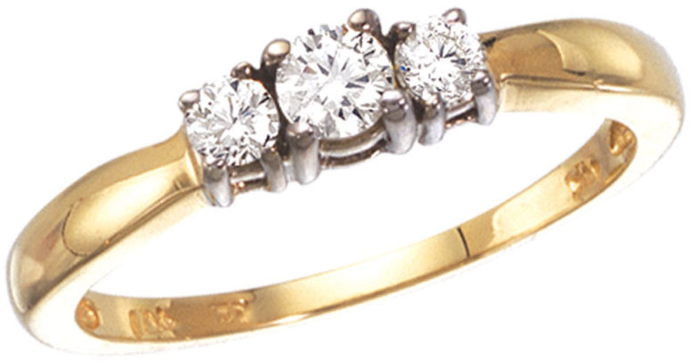 14k Yellow Gold 0.25 Ct Three Stone Diamond Ring (CM-RM1215)