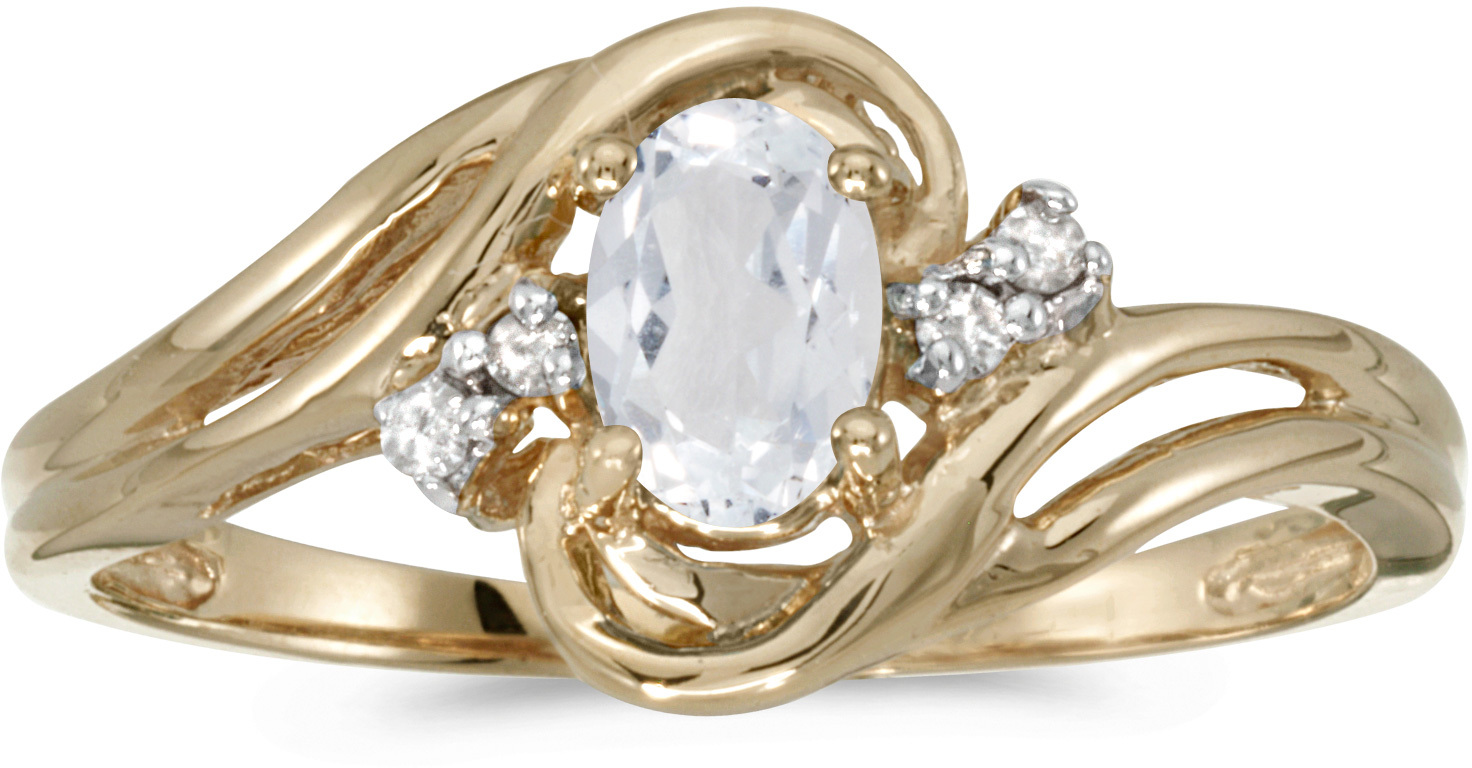 10k Yellow Gold Oval White Topaz And Diamond Ring (CM-RM1219-04)