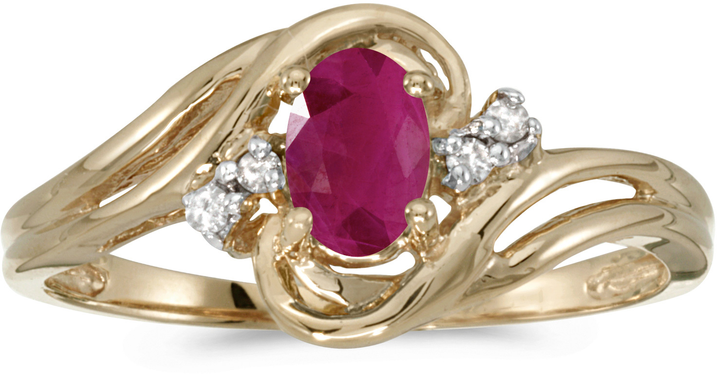 10k Yellow Gold Oval Ruby And Diamond Ring (CM-RM1219-07)