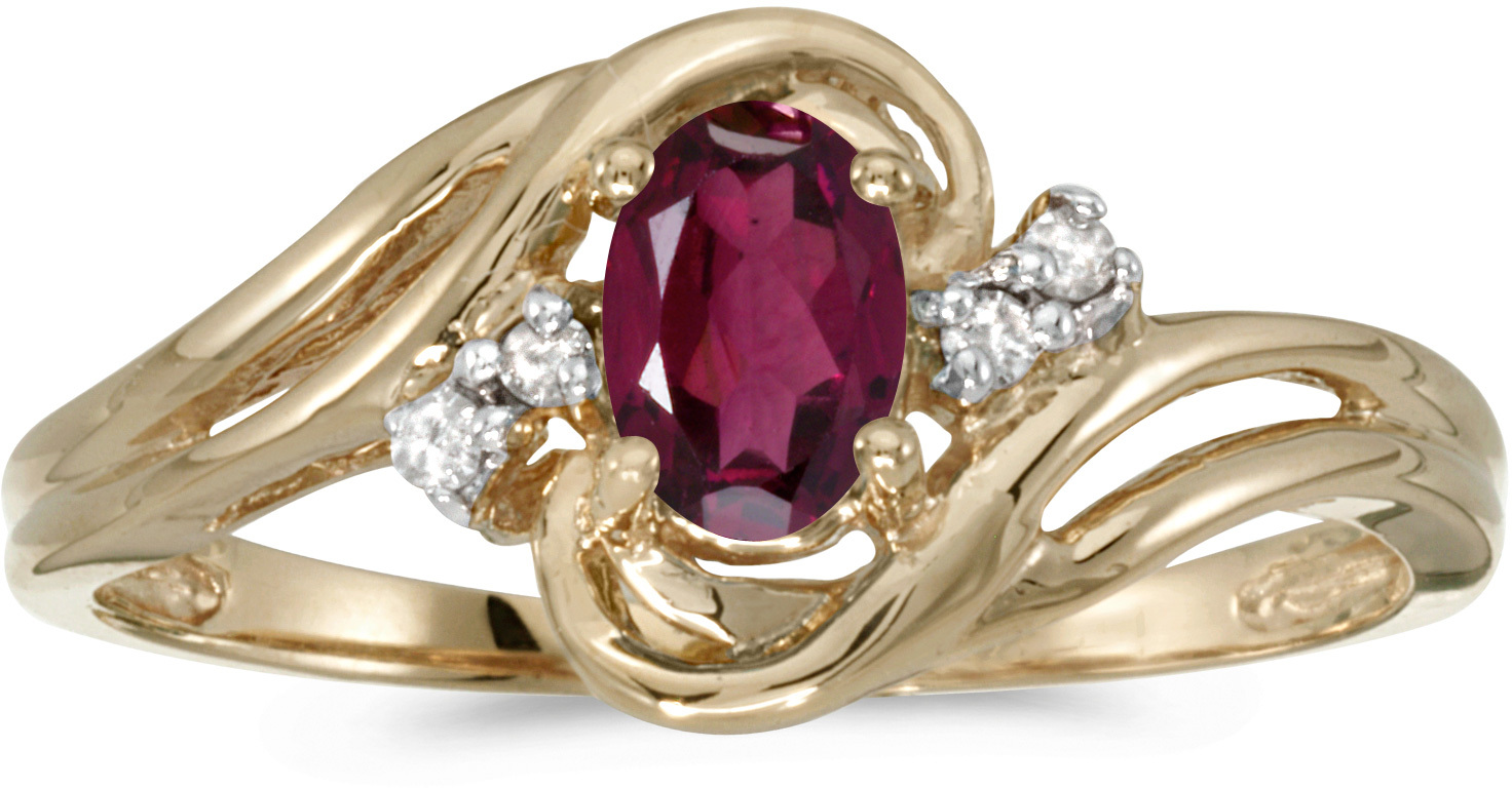 10k Yellow Gold Oval Rhodolite Garnet And Diamond Ring (CM-RM1219-RG)