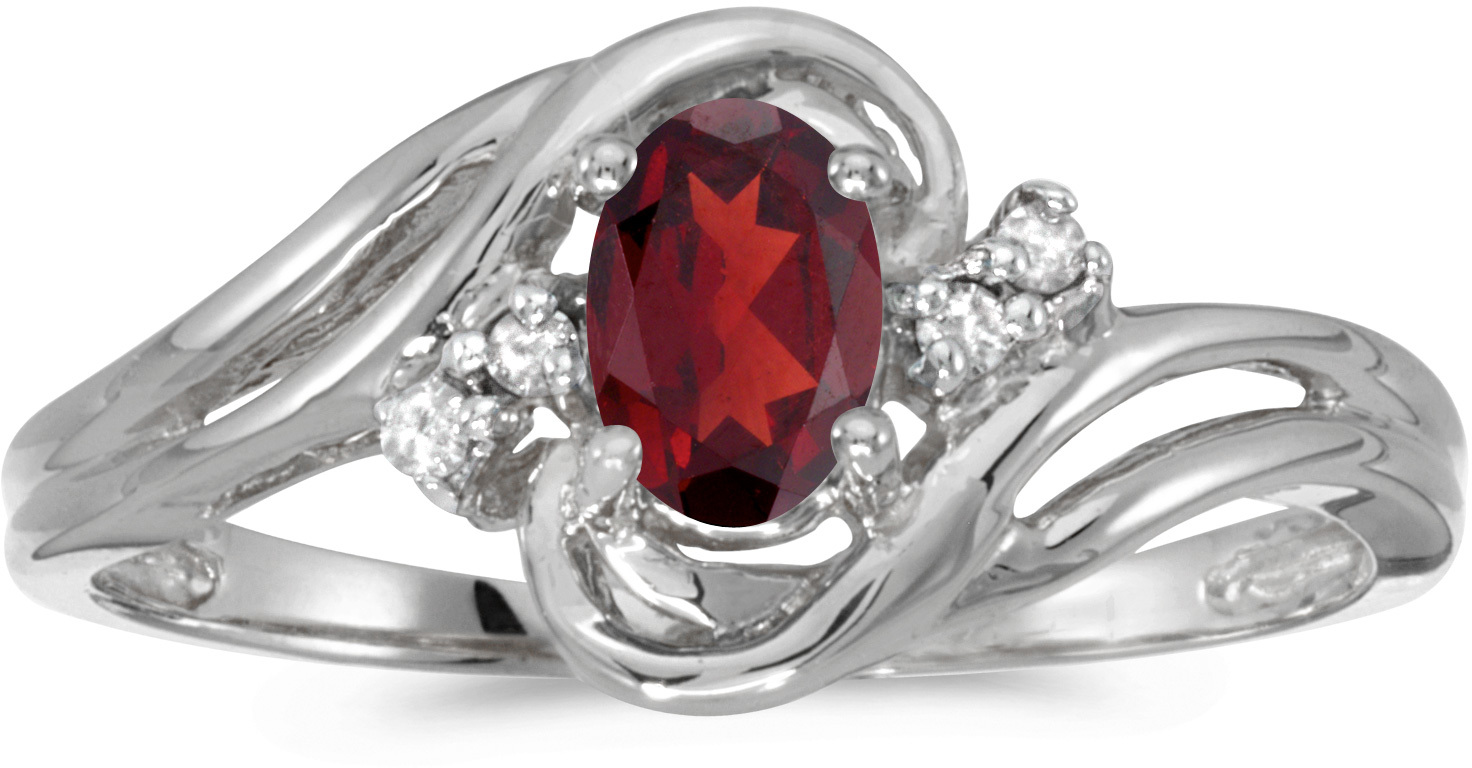 10k White Gold Oval Garnet And Diamond Ring (CM-RM1219W-01)