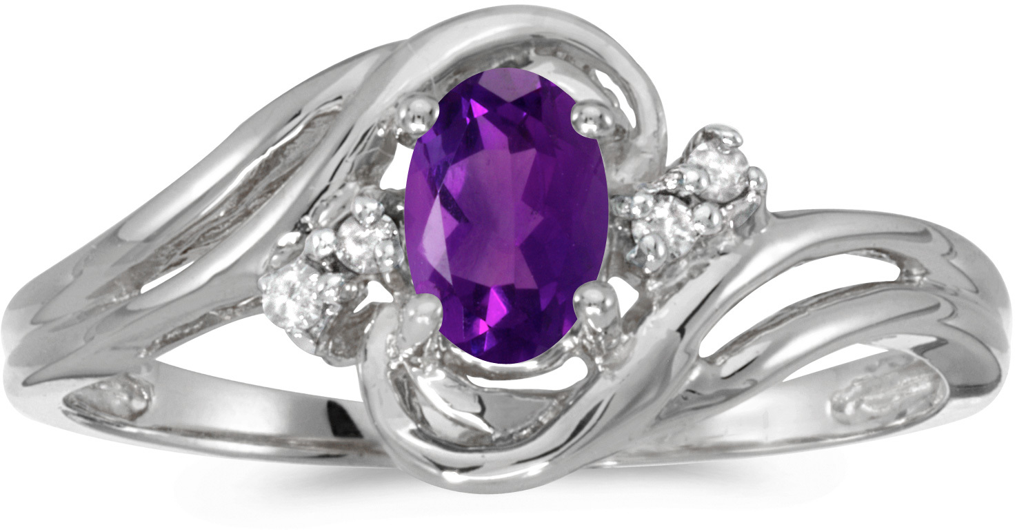10k White Gold Oval Amethyst And Diamond Ring (CM-RM1219W-02)