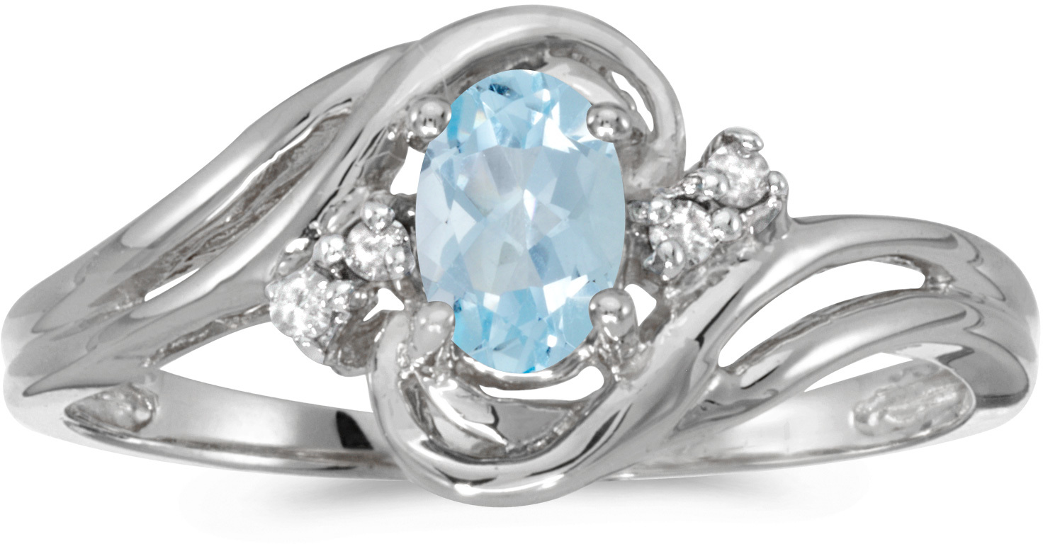 10k White Gold Oval Aquamarine And Diamond Ring (CM-RM1219W-03)