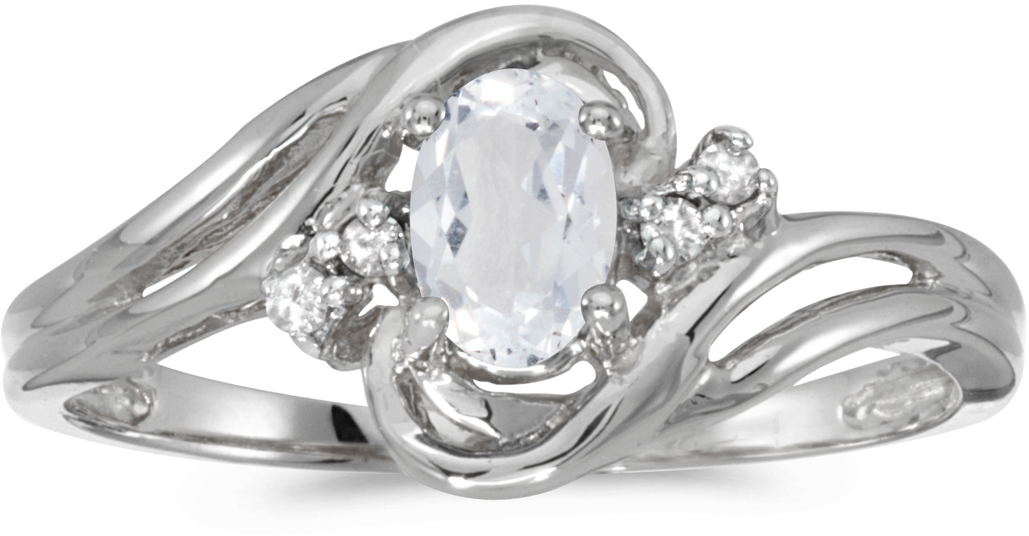 10k White Gold Oval White Topaz And Diamond Ring (CM-RM1219W-04)