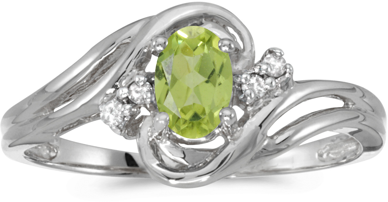 10k White Gold Oval Peridot And Diamond Ring (CM-RM1219W-08)