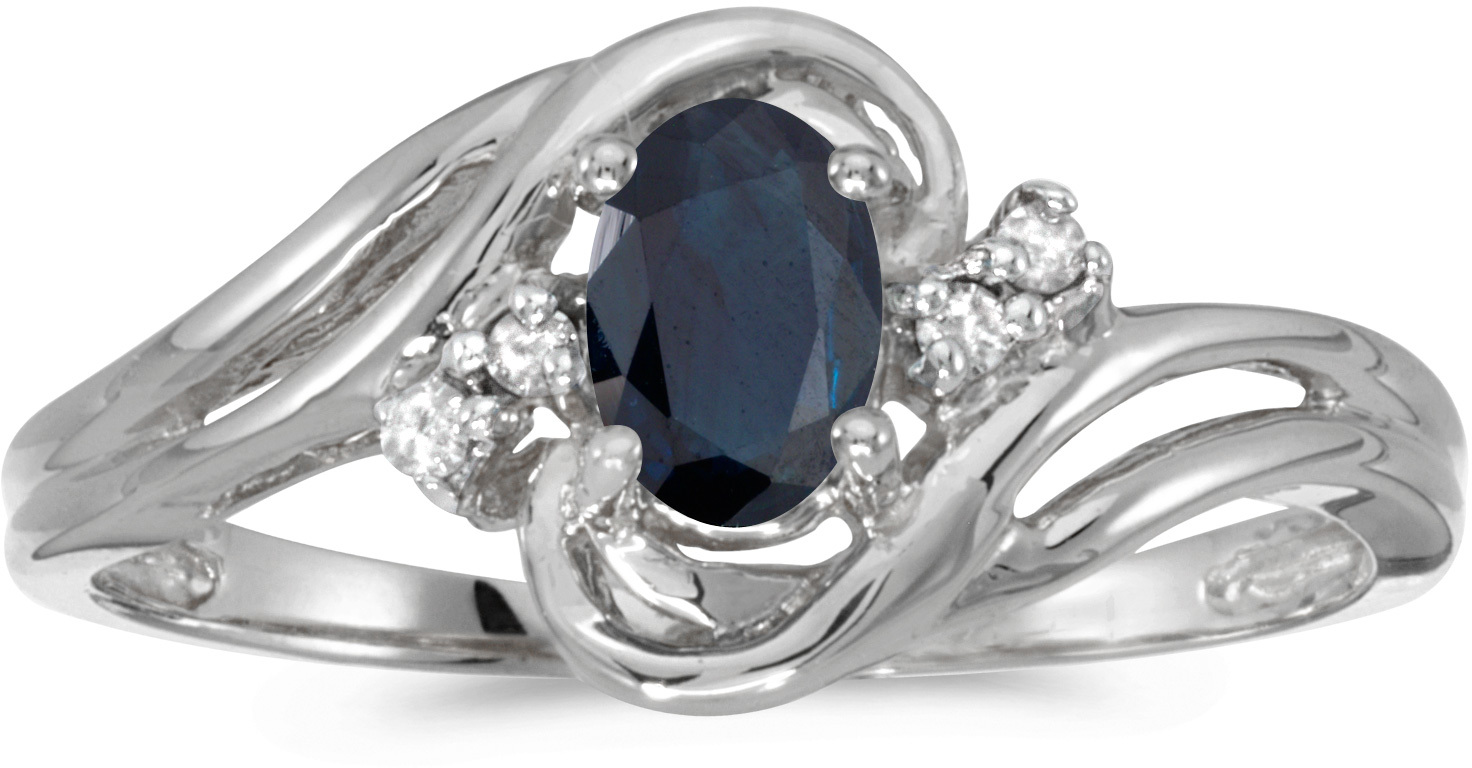 10k White Gold Oval Sapphire And Diamond Ring (CM-RM1219W-09)