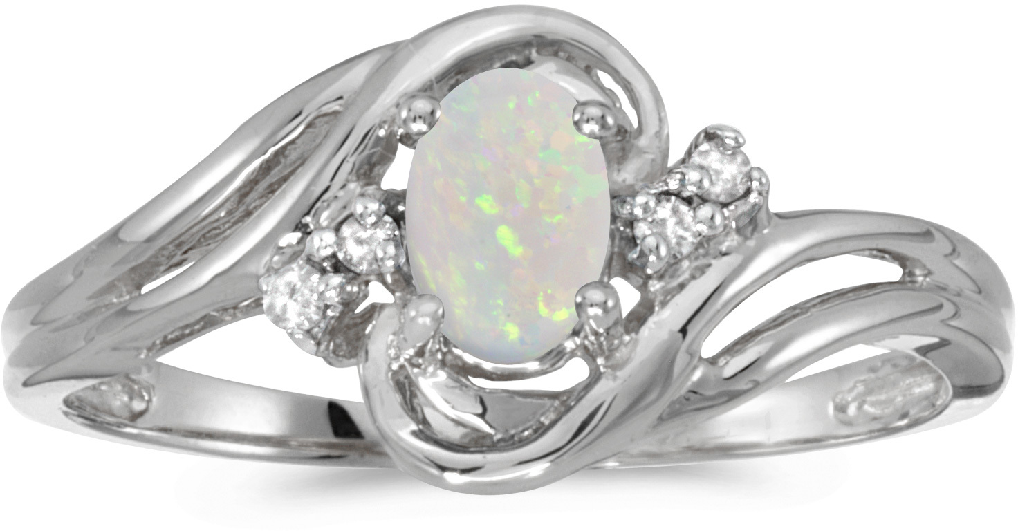 10k White Gold Oval Opal And Diamond Ring (CM-RM1219W-10)