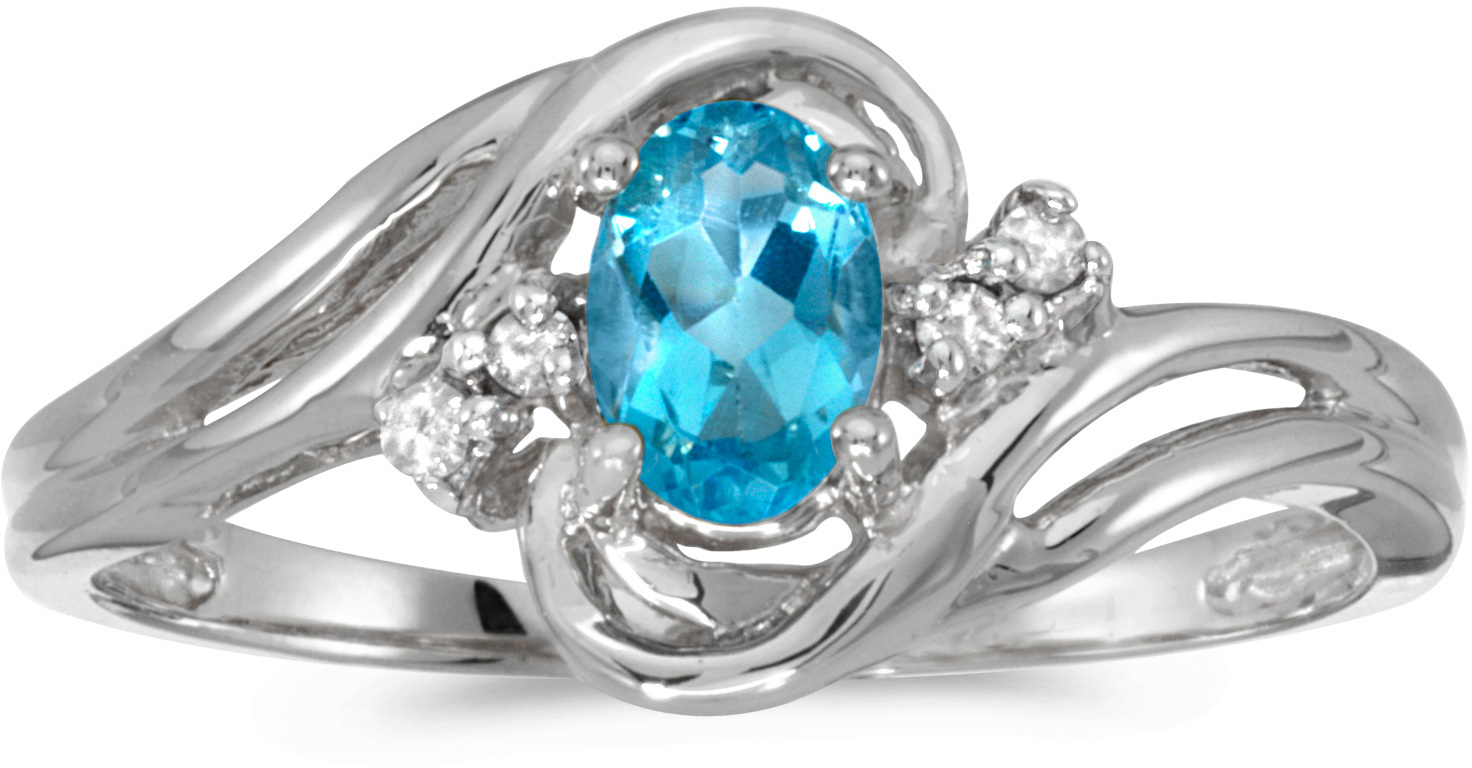 10k White Gold Oval Blue Topaz And Diamond Ring (CM-RM1219W-12)