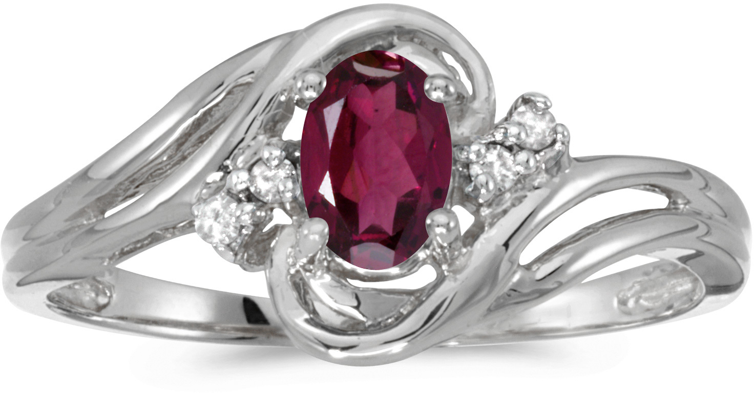 10k White Gold Oval Rhodolite Garnet And Diamond Ring (CM-RM1219W-RG)