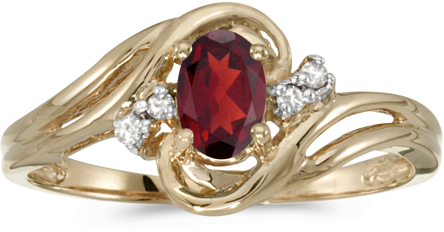 14k Yellow Gold Oval Garnet And Diamond Ring (CM-RM1219X-01)