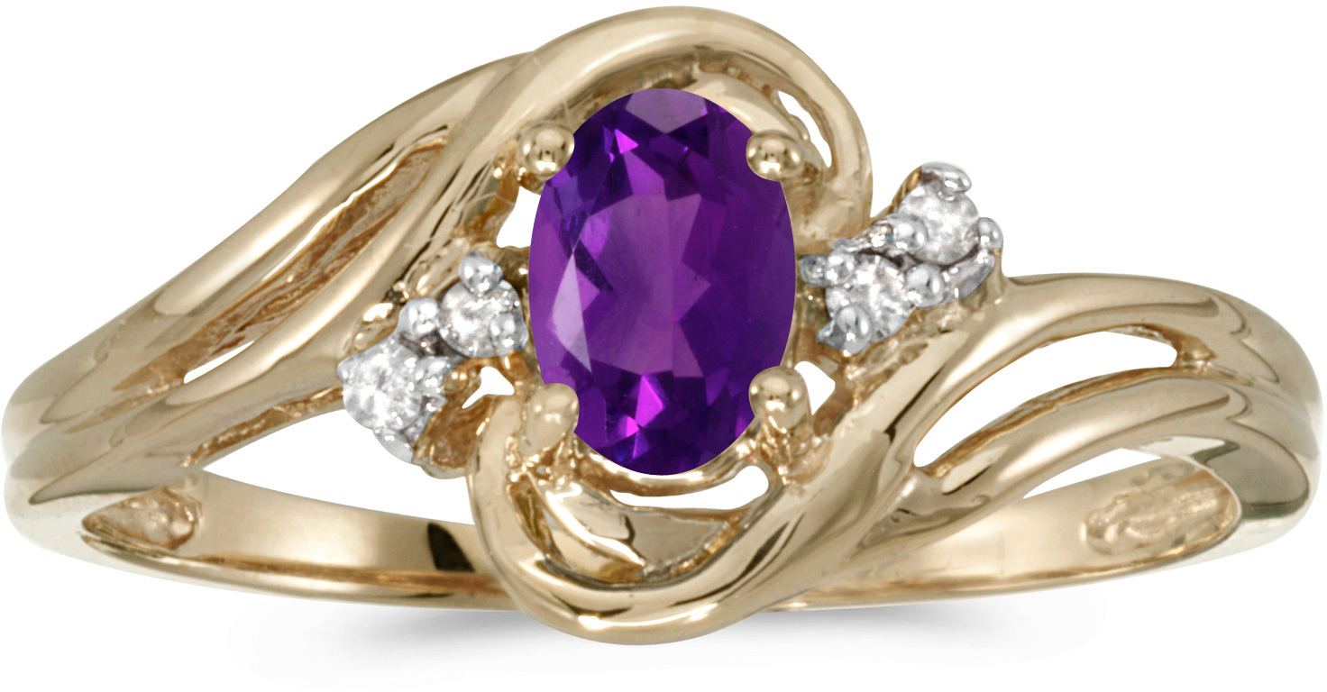 14k Yellow Gold Oval Amethyst And Diamond Ring (CM-RM1219X-02)