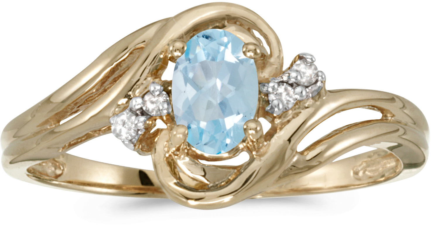 14k Yellow Gold Oval Aquamarine And Diamond Ring (CM-RM1219X-03)