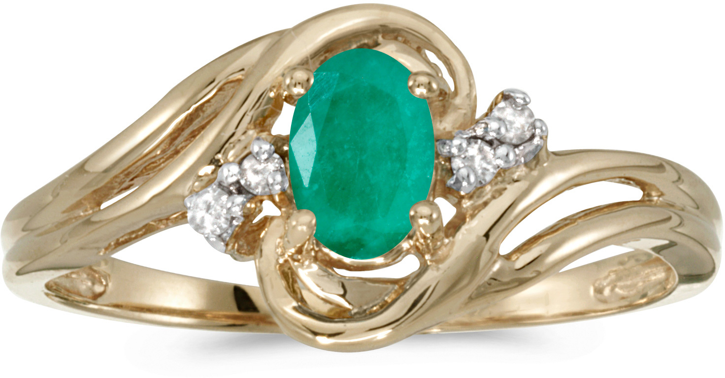 14k Yellow Gold Oval Emerald And Diamond Ring (CM-RM1219X-05)