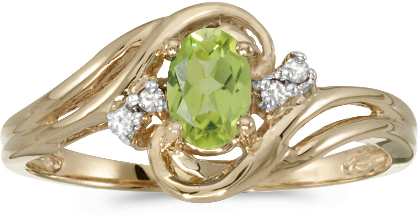 14k Yellow Gold Oval Peridot And Diamond Ring (CM-RM1219X-08)