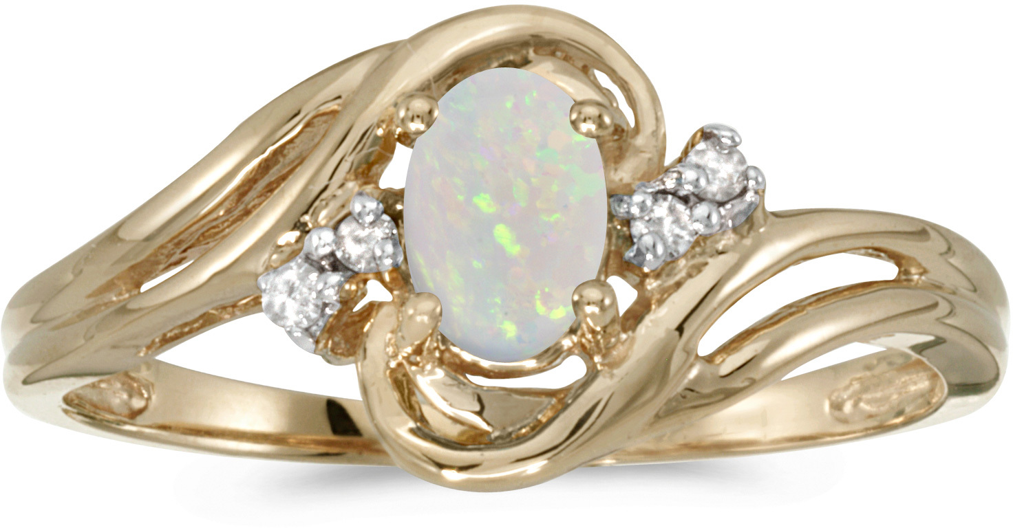 14k Yellow Gold Oval Opal And Diamond Ring (CM-RM1219X-10)