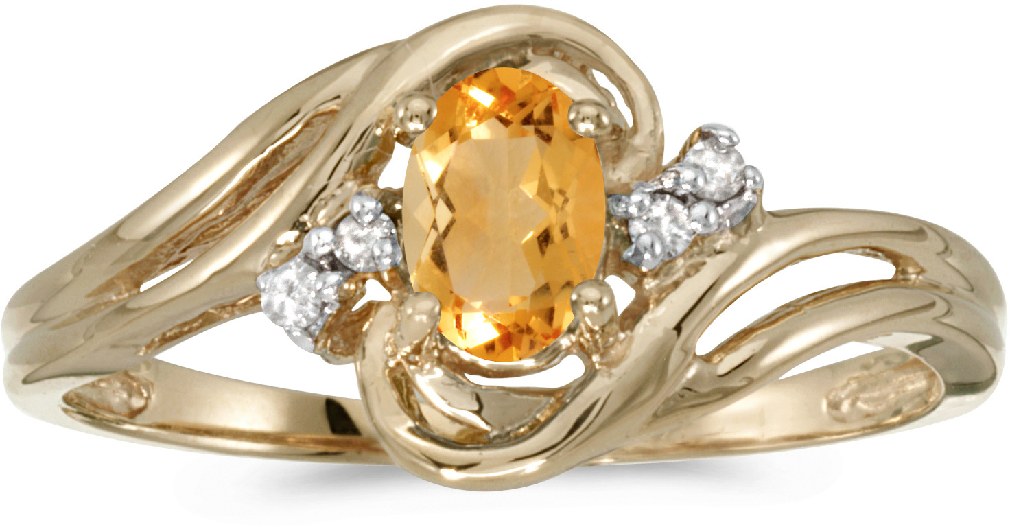 14k Yellow Gold Oval Citrine And Diamond Ring (CM-RM1219X-11)