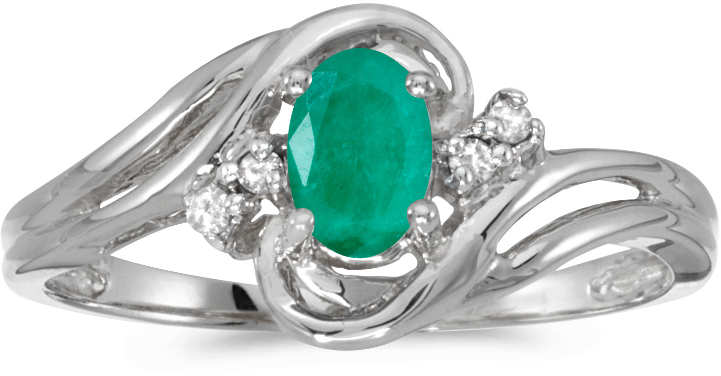 14k White Gold Oval Emerald And Diamond Ring (CM-RM1219XW-05)