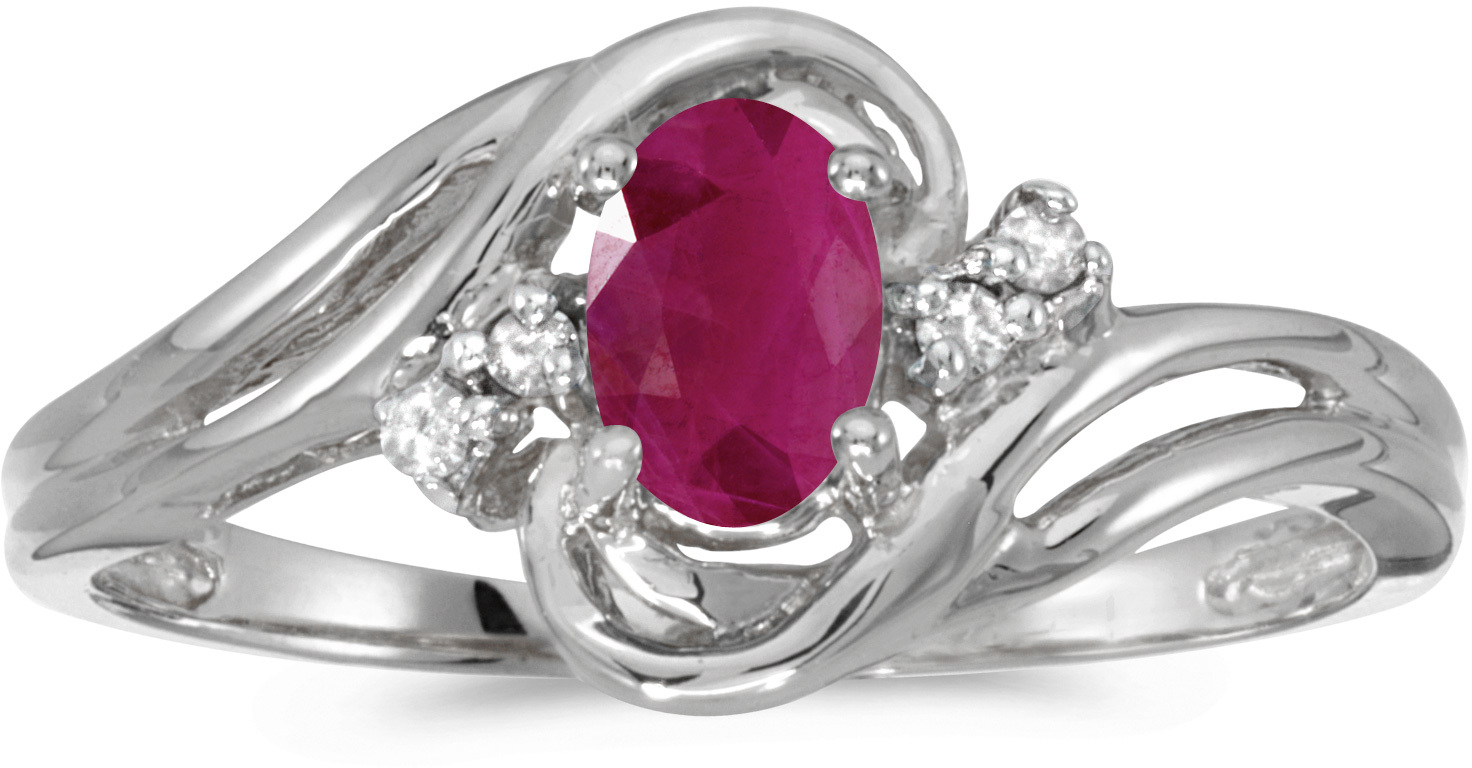 14k White Gold Oval Ruby And Diamond Ring (CM-RM1219XW-07)