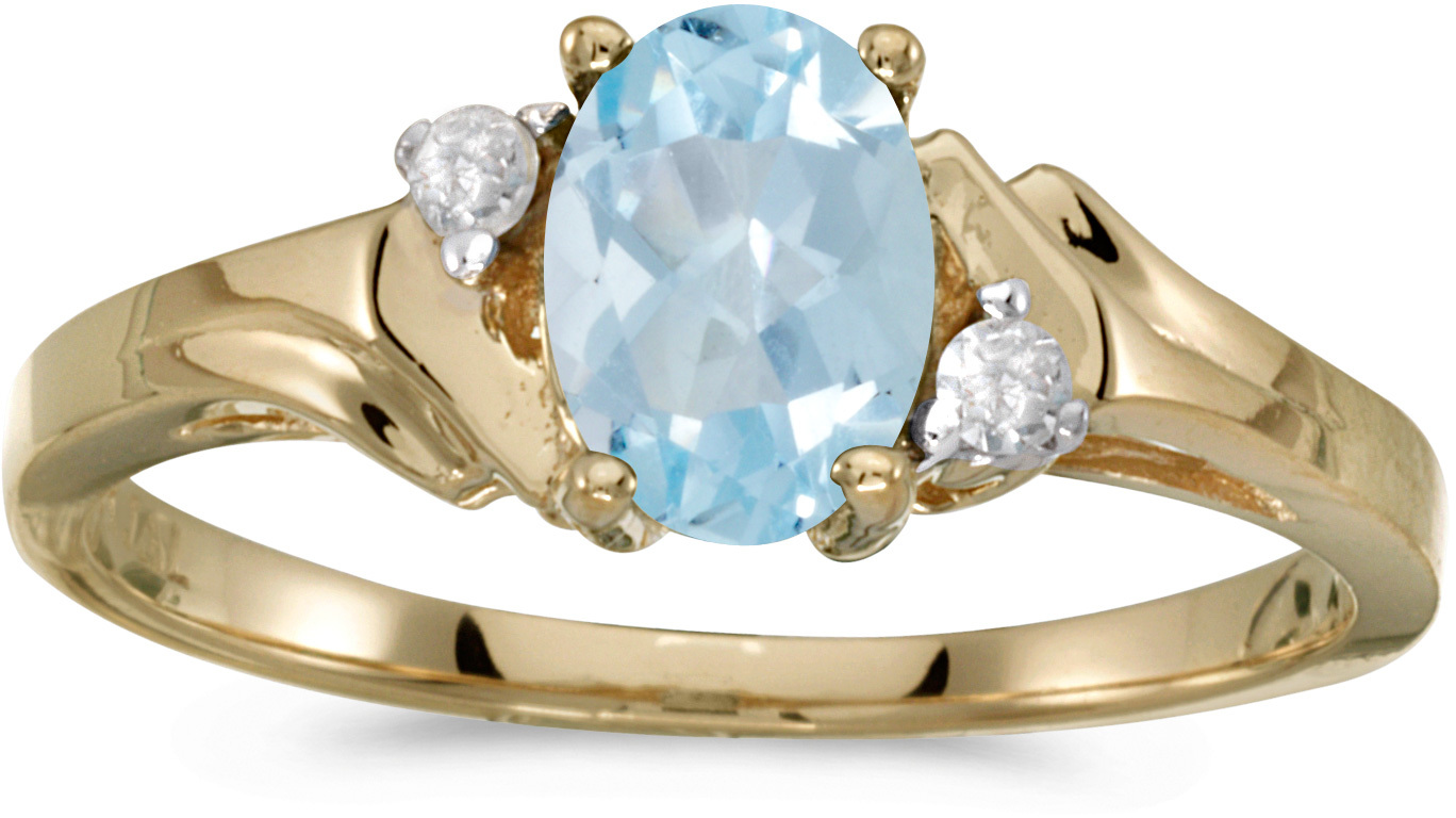 10k Yellow Gold Oval Aquamarine And Diamond Ring (CM-RM1248-03)