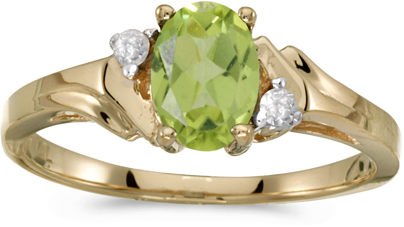10k Yellow Gold Oval Peridot And Diamond Ring (CM-RM1248-08)