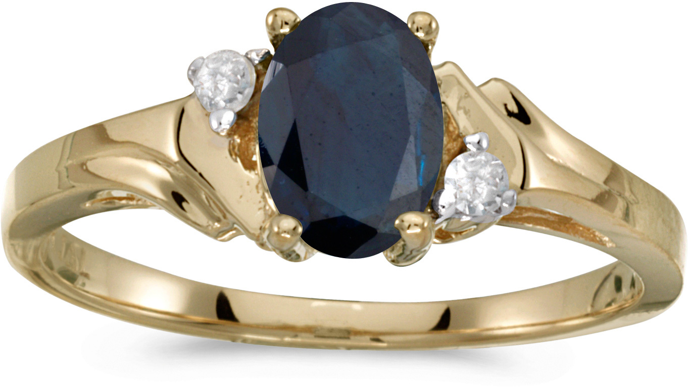10k Yellow Gold Oval Sapphire And Diamond Ring (CM-RM1248-09)