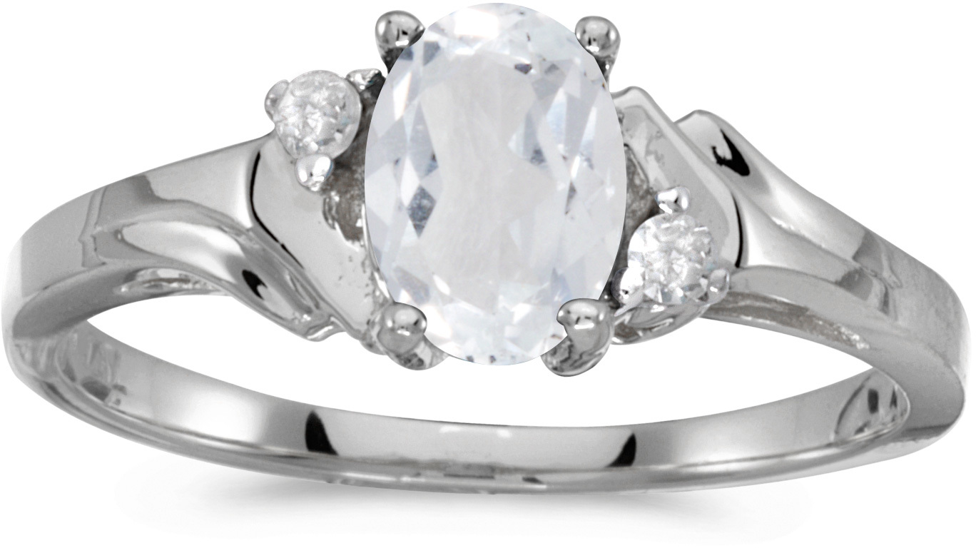 10k White Gold Oval White Topaz And Diamond Ring (CM-RM1248W-04)