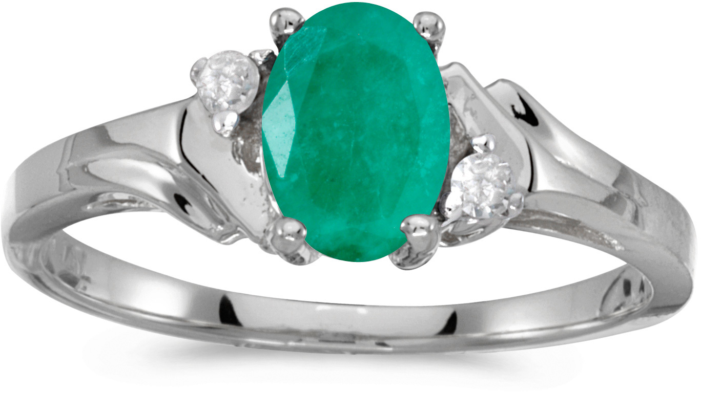 10k White Gold Oval Emerald And Diamond Ring (CM-RM1248W-05)
